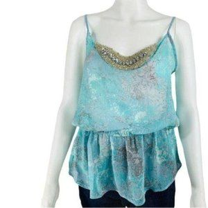 Maurices Tank Top Blouson Cami Blue Bling NWT